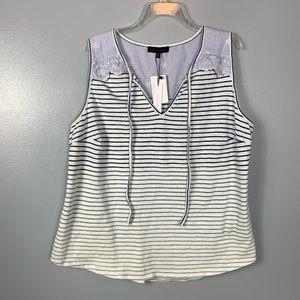 Sanctuary NEW Ombré Blue White Striped Shirt Sz 2x